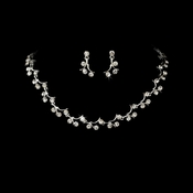 Elegant Silver Crystal Bridal Jewelry Set NE 388