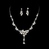 Necklace Earring Set NE 919 Silver  AB