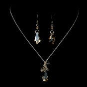 Necklace Earring Set 8126 Silver Brown