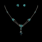 Turquoise Crystal Bridesmaid or Prom Jewelry Set NE 981