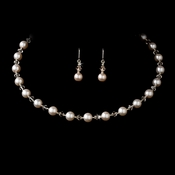 Pink Pearl Choker Necklace & Earrings Set 511