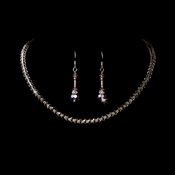 Dazzling Silver Pink Austrian Crystal Necklace & Earring Set 235