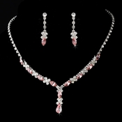 Necklace Earring Set 9235 Silver Pink