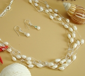 Multi Strand Freshwater Pearl, Swarovski Crystal Necklace & Earring Set (N 8250 & E 8254)