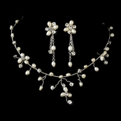 Rhinestone & Freshwater Pearl Necklace Set NE 8139