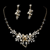 Gold Swarovski Necklace Earring Jewelry Set NE 8237