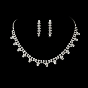 Silver & Clear Rhinestone Necklace & Earring Set NE 362