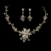 Gold Swarovski Crystal Jewelry Set NE 7809