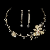 Necklace Earring Set NE 7802 Gold Clear