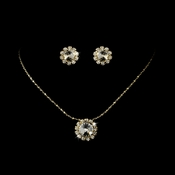 Necklace Earring Set 70249 Gold Clear