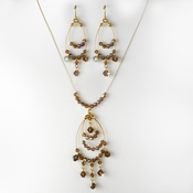 Contemporary Gold Brown AB Crystal Bead Chandelier Necklace & Earring Set 8153