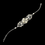 Silver Plated Bracelet Adorn in Ivory Pearls & Vintage Rhinestone Embellishments B 7844