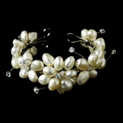 Freshwater Pearl Flower Bracelet with Touch of Swarovski Crystal B8380