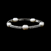 Freshwater Pearl & Silver Pave Stretch Bracelet 997