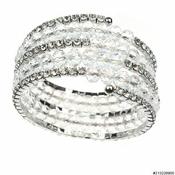 Silver Clear 4 Line Bead Bracelet B 8473***Discontinued***