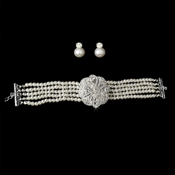 Bridal 5 Row Choker Pearl Necklace & Earring Sets NE 600 Silver Ivory