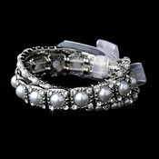Delightful Triple Strand Silver Pearl Stretch Bracelet Set 8458