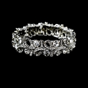 Silver Clear Stretch Swirl Crystal Rhinestone Bracelet B 967***Discontinued***