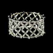 Silver Clear Intricate Stretch Crystal Bracelet B 10493