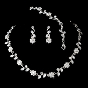 Necklace Earring Bracelet Set 6570 Silver Clear