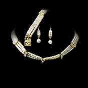 Necklace Earring Bracelet Set 134 Gold Ivory