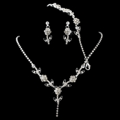 * Necklace Earring Bracelet Set 11037 Silver Clear