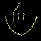 Necklace Earring Bracelet Set 70430 Gold Clear