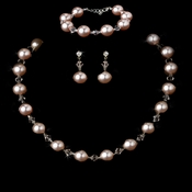 Necklace Earring Bracelet Set 8372 Pink