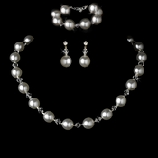 Necklace Earring Bracelet Set 8372 White