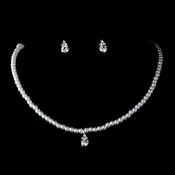 Children's Necklace Silver White Jewelry Set NE 401 **Discontinued**