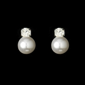 Pearl Rhinestone Wedding Earrings E 505 Silver White