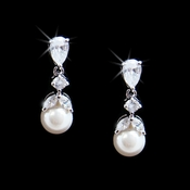 Dainty Cubic Zirconia & Pearl Drop Bridal Earrings E 3905