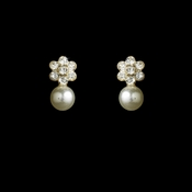 Silver & White Pearl Flower Earrings E 502