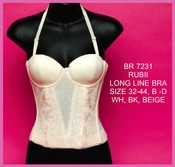 Long Line Lace Bra #7231 White, Beige or Black