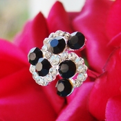 Black Crystal Swirl Bouquet Jewelry
