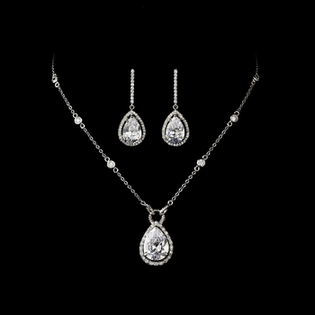 Necklace Earring Set N 2729 E 5172 Silver Clear