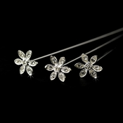 Crystal Flower Bouquet Jewelry 106 Silver Clear (Set of 3)