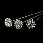 Silver Clear Crystal Bouquet Jewelry BQ 109 (Sold Individually)