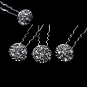 * 12 Gorgeous Silver Clear Crystal Hair Pins 0099
