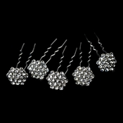 * 12 Fabulous Silver Clear Crystal Hair Pins 0104