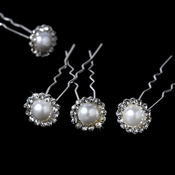 * Pearl & Crystal Bridal Hair Pins KCS 0034 (Set of 12)