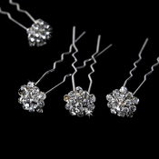 12 Glamorous Silver Clear Crystal Hair Pins KCS 0046