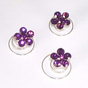 Silver/Light Amethyst Floral Hair Accents Twist In's 01 (Set of 12)
