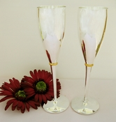 Silver Wedding Toasting Champagne Flutes FL 21059