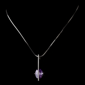 * Fabulous Designer Inspired Silver Lavender Crystal Pendant Necklace 3500