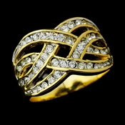 Lovely Gold Clear Crystal Open Weave Band Ring 1097 **Discontinued***
