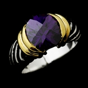 Wonderful Designer Inspired Silver Amethyst Round CZ Ring 1246