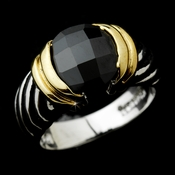 Wonderful Designer Inspired Silver Black Round CZ Ring 1246