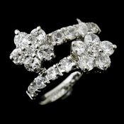 Gorgeous Silver Clear CZ Flower Ring 2872  ** Discontinued **