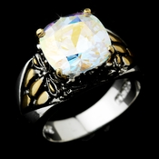 Beautiful Designer Inspired Silver Aurora Borealis CZ Ring 4115